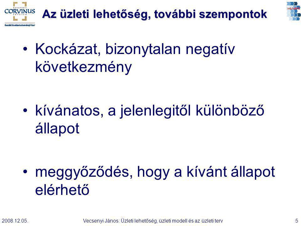 2008.12.05.Vecsenyi János: Üzleti lehetőség, üzleti modell és az üzleti terv26 Kiadások Mire kell költeni állandóan, változóan.