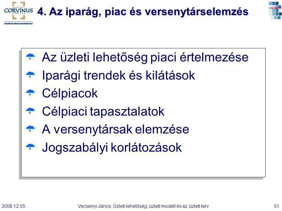 2008.12.05.Vecsenyi János: Üzleti lehetőség, üzleti modell és az üzleti terv51  Az üzleti lehetőség piaci értelmezése  Iparági trendek és kilátások