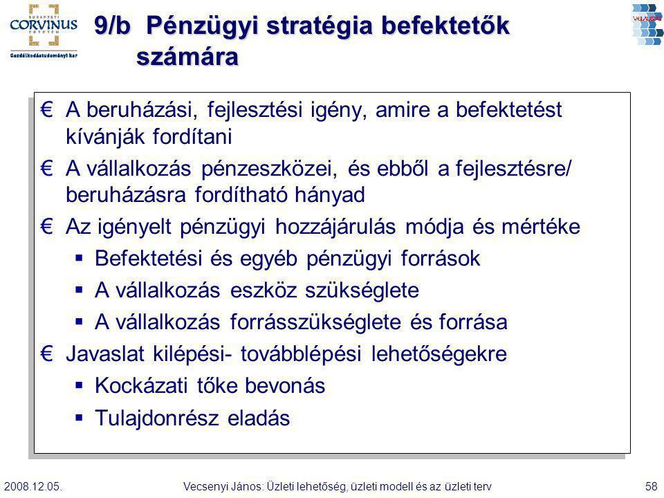 2008.12.05.Vecsenyi János: Üzleti lehetőség, üzleti modell és az üzleti terv58 9/b Pénzügyi stratégia befektetők számára €A beruházási, fejlesztési ig