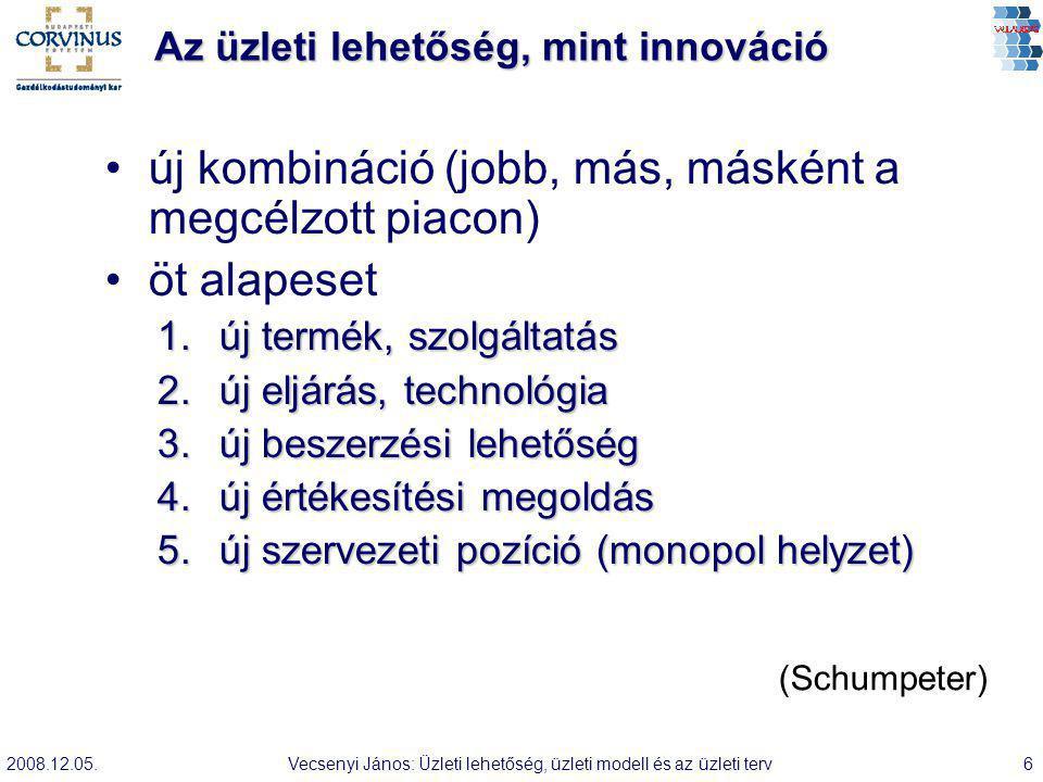 2008.12.05.Vecsenyi János: Üzleti lehetőség, üzleti modell és az üzleti terv6 Az üzleti lehetőség, mint innováció új kombináció (jobb, más, másként a