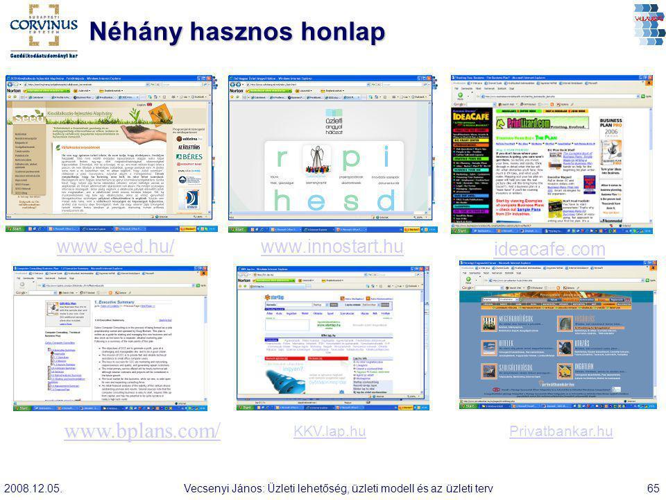 2008.12.05.Vecsenyi János: Üzleti lehetőség, üzleti modell és az üzleti terv65 Néhány hasznos honlap KKV.lap.huPrivatbankar.hu www.innostart.hu ideaca