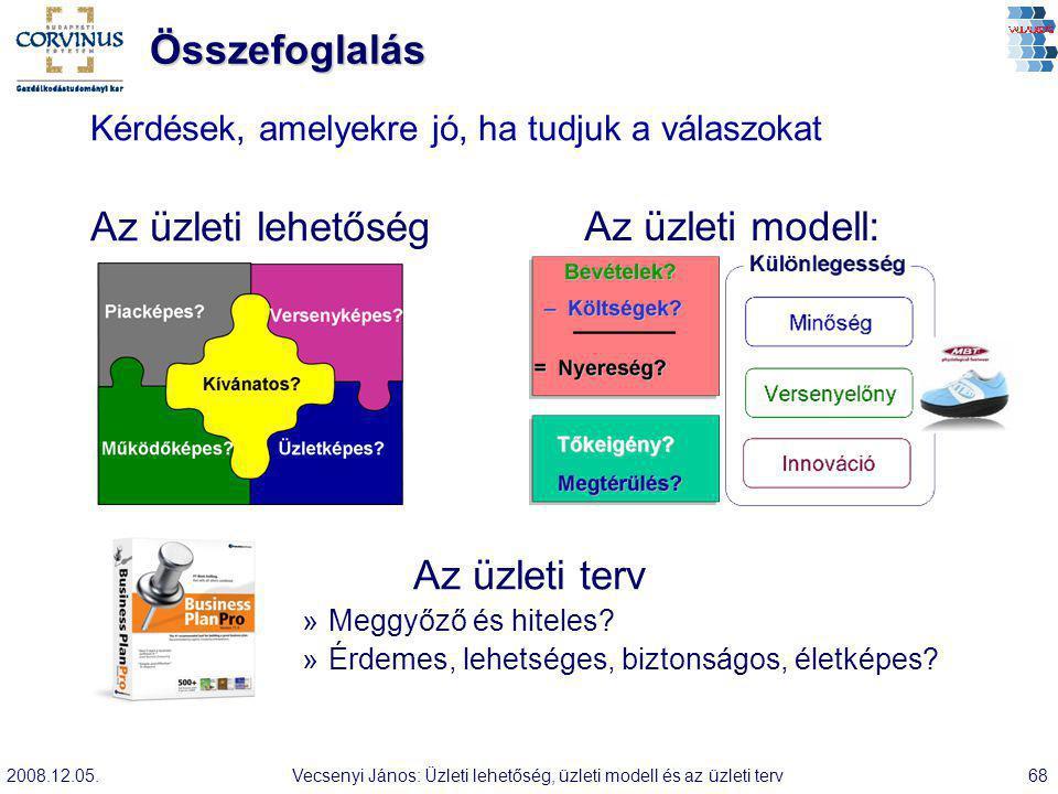 2008.12.05.Vecsenyi János: Üzleti lehetőség, üzleti modell és az üzleti terv68 Összefoglalás Kérdések, amelyekre jó, ha tudjuk a válaszokat Az üzleti