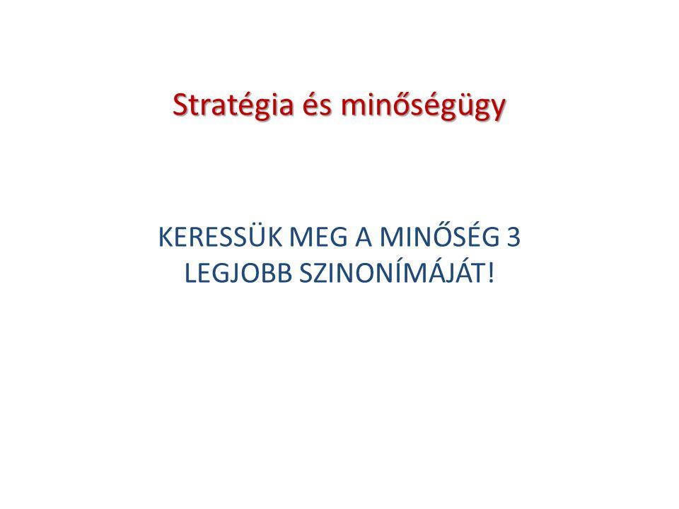 Stratégia és minőségügy KERESSÜK MEG A MINŐSÉG 3 LEGJOBB SZINONÍMÁJÁT!