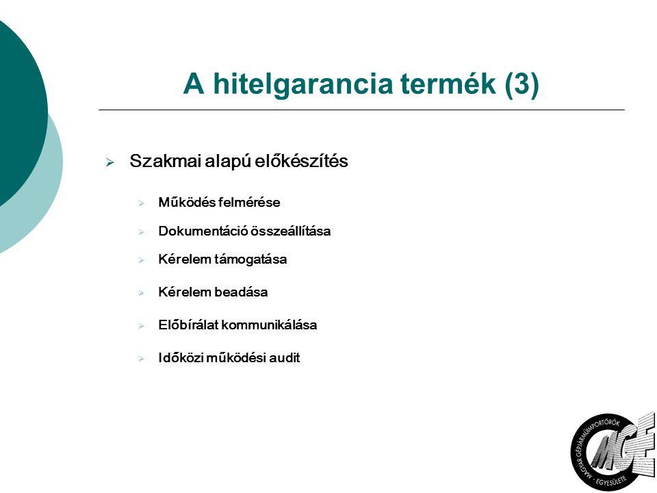 A hitelgarancia termék (3)  Szakmai alapú előkészítés  Működés felmérése  Dokumentáció összeállítása  Kérelem támogatása  Kérelem beadása  Előbírálat kommunikálása  Időközi működési audit