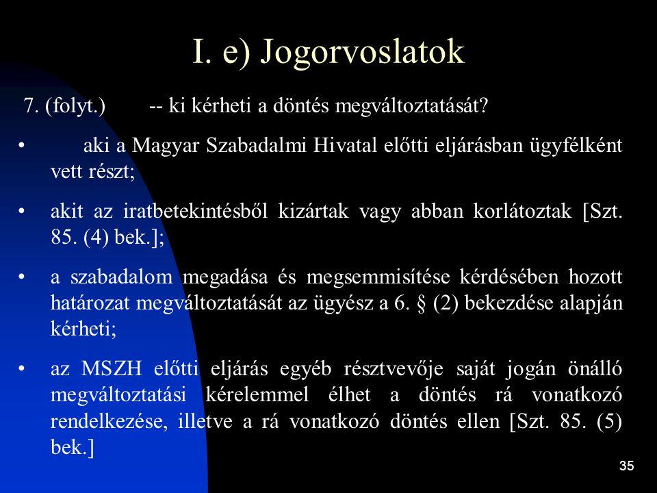 35 I. e) Jogorvoslatok 7. (folyt.)-- ki kérheti a döntés megváltoztatását? aki a Magyar Szabadalmi Hivatal előtti eljárásban ügyfélként vett részt; ak