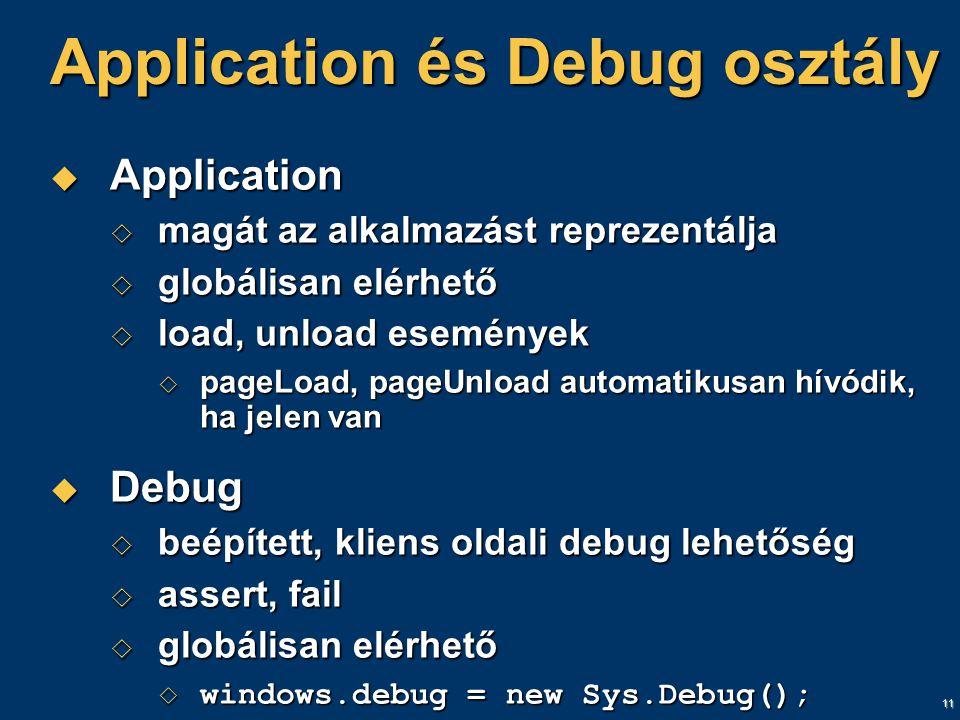 11 Application és Debug osztály  Application  magát az alkalmazást reprezentálja  globálisan elérhető  load, unload események  pageLoad, pageUnload automatikusan hívódik, ha jelen van  Debug  beépített, kliens oldali debug lehetőség  assert, fail  globálisan elérhető  windows.debug = new Sys.Debug();
