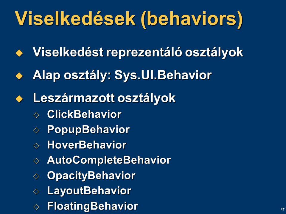 17 Viselkedések (behaviors)  Viselkedést reprezentáló osztályok  Alap osztály: Sys.UI.Behavior  Leszármazott osztályok  ClickBehavior  PopupBehavior  HoverBehavior  AutoCompleteBehavior  OpacityBehavior  LayoutBehavior  FloatingBehavior
