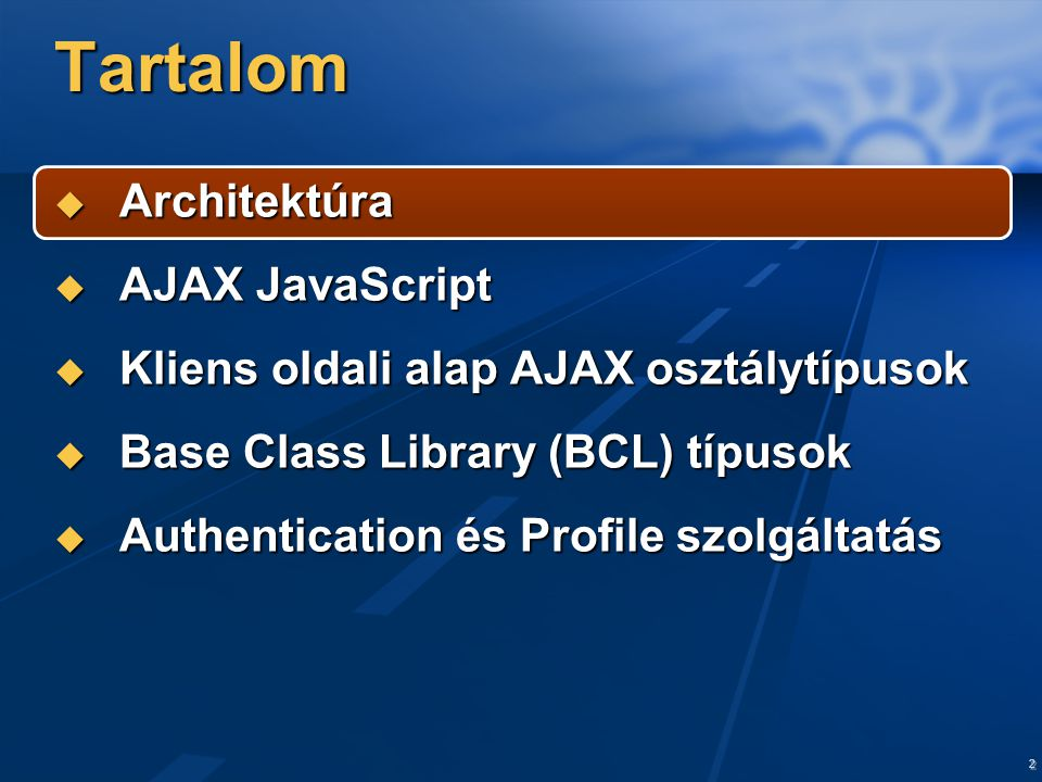 3 Architektúra XHTML / CSS Server Scripts Microsoft AJAX Library Script Core Base Class Library Asynchronous Communications Browser Compatibility Browsers (IE, Firefox, Opera, Safari) XML-HTTP Stack XML-HTTP JSON Serializer Web Service Proxies
