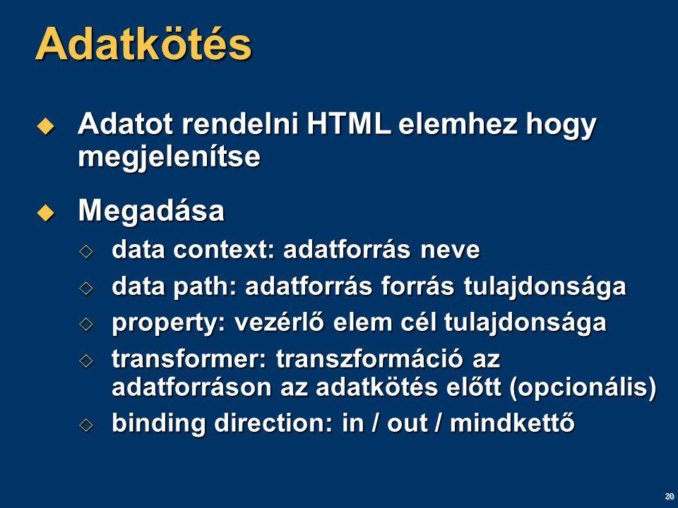 20 Adatkötés  Adatot rendelni HTML elemhez hogy megjelenítse  Megadása  data context: adatforrás neve  data path: adatforrás forrás tulajdonsága  property: vezérlő elem cél tulajdonsága  transformer: transzformáció az adatforráson az adatkötés előtt (opcionális)  binding direction: in / out / mindkettő