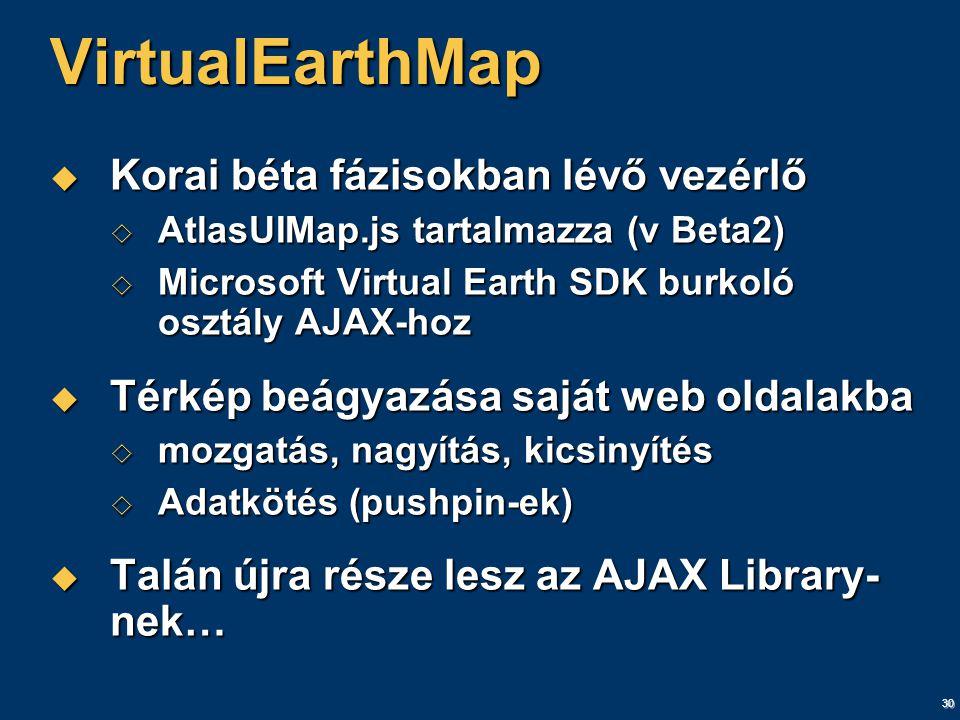 30 VirtualEarthMap  Korai béta fázisokban lévő vezérlő  AtlasUIMap.js tartalmazza (v Beta2)  Microsoft Virtual Earth SDK burkoló osztály AJAX-hoz  Térkép beágyazása saját web oldalakba  mozgatás, nagyítás, kicsinyítés  Adatkötés (pushpin-ek)  Talán újra része lesz az AJAX Library- nek…