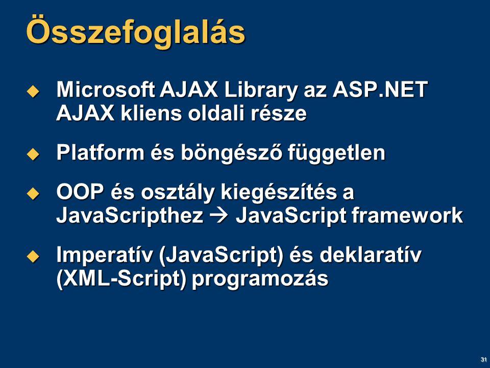 31 Összefoglalás  Microsoft AJAX Library az ASP.NET AJAX kliens oldali része  Platform és böngésző független  OOP és osztály kiegészítés a JavaScripthez  JavaScript framework  Imperatív (JavaScript) és deklaratív (XML-Script) programozás