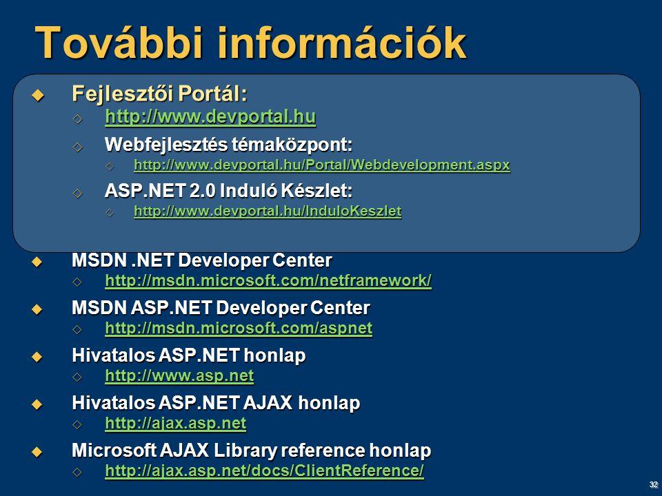 32 További információk  Fejlesztői Portál:  http://www.devportal.hu http://www.devportal.hu  Webfejlesztés témaközpont:  http://www.devportal.hu/Portal/Webdevelopment.aspx http://www.devportal.hu/Portal/Webdevelopment.aspx  ASP.NET 2.0 Induló Készlet:  http://www.devportal.hu/InduloKeszlet http://www.devportal.hu/InduloKeszlet  MSDN.NET Developer Center  http://msdn.microsoft.com/netframework/ http://msdn.microsoft.com/netframework/  MSDN ASP.NET Developer Center  http://msdn.microsoft.com/aspnet http://msdn.microsoft.com/aspnet http://msdn.microsoft.com/aspnet  Hivatalos ASP.NET honlap  http://www.asp.net http://www.asp.net  Hivatalos ASP.NET AJAX honlap  http://ajax.asp.net http://ajax.asp.net  Microsoft AJAX Library reference honlap  http://ajax.asp.net/docs/ClientReference/ http://ajax.asp.net/docs/ClientReference/