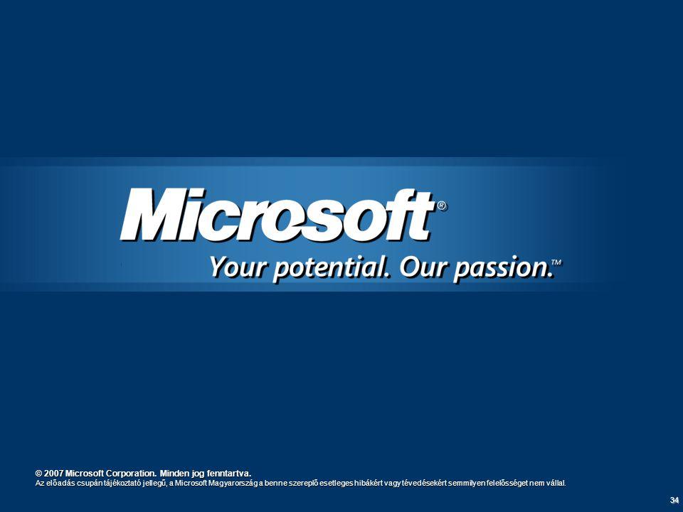 34 © 2007 Microsoft Corporation. Minden jog fenntartva. Az előadás csupán tájékoztató jellegű, a Microsoft Magyarország a benne szereplő esetleges hib