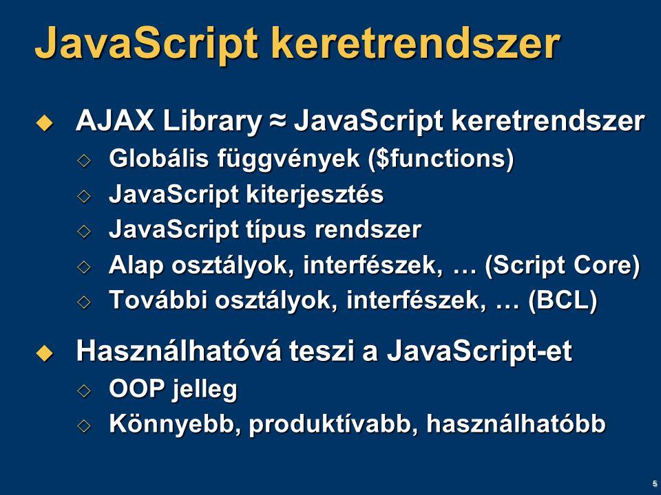 5 JavaScript keretrendszer  AJAX Library ≈ JavaScript keretrendszer  Globális függvények ($functions)  JavaScript kiterjesztés  JavaScript típus rendszer  Alap osztályok, interfészek, … (Script Core)  További osztályok, interfészek, … (BCL)  Használhatóvá teszi a JavaScript-et  OOP jelleg  Könnyebb, produktívabb, használhatóbb
