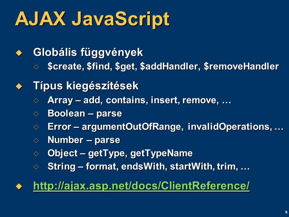 6 AJAX JavaScript  Globális függvények  $create, $find, $get, $addHandler, $removeHandler  Típus kiegészítések  Array – add, contains, insert, remove, …  Boolean – parse  Error – argumentOutOfRange, invalidOperations, …  Number – parse  Object – getType, getTypeName  String – format, endsWith, startWith, trim, …  http://ajax.asp.net/docs/ClientReference/ http://ajax.asp.net/docs/ClientReference/