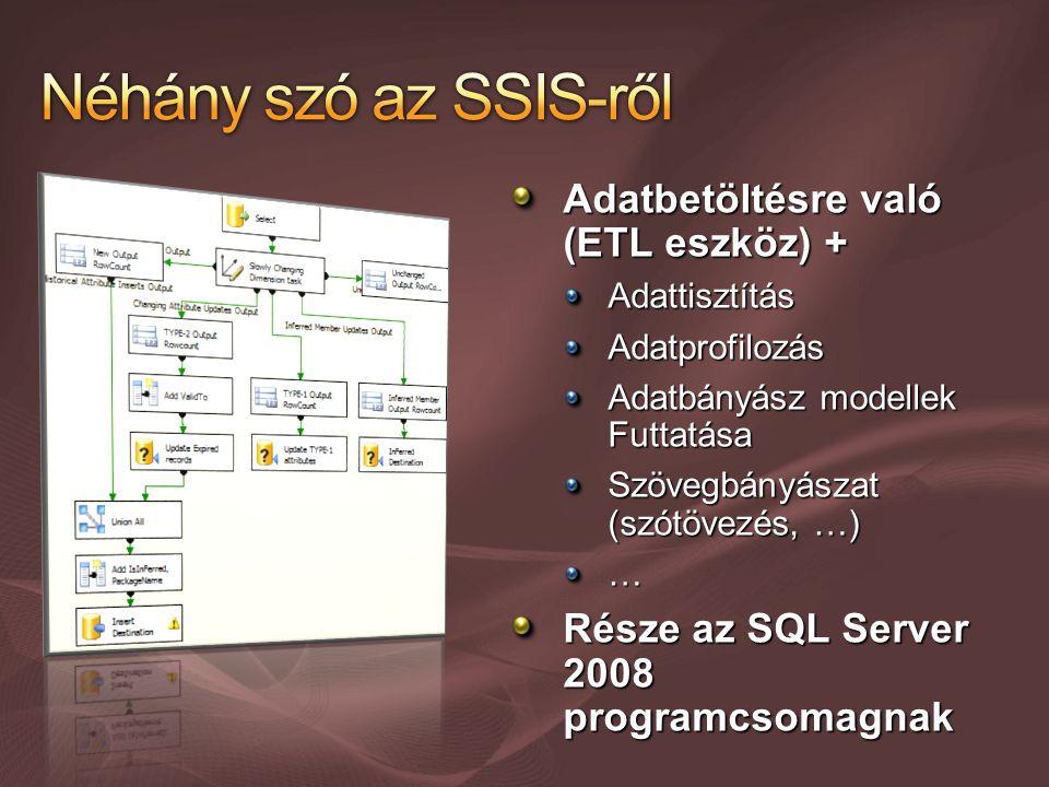 Adatbetöltésre való (ETL eszköz) + AdattisztításAdatprofilozás Adatbányász modellek Futtatása Szövegbányászat (szótövezés, …) … Része az SQL Server 2008 programcsomagnak