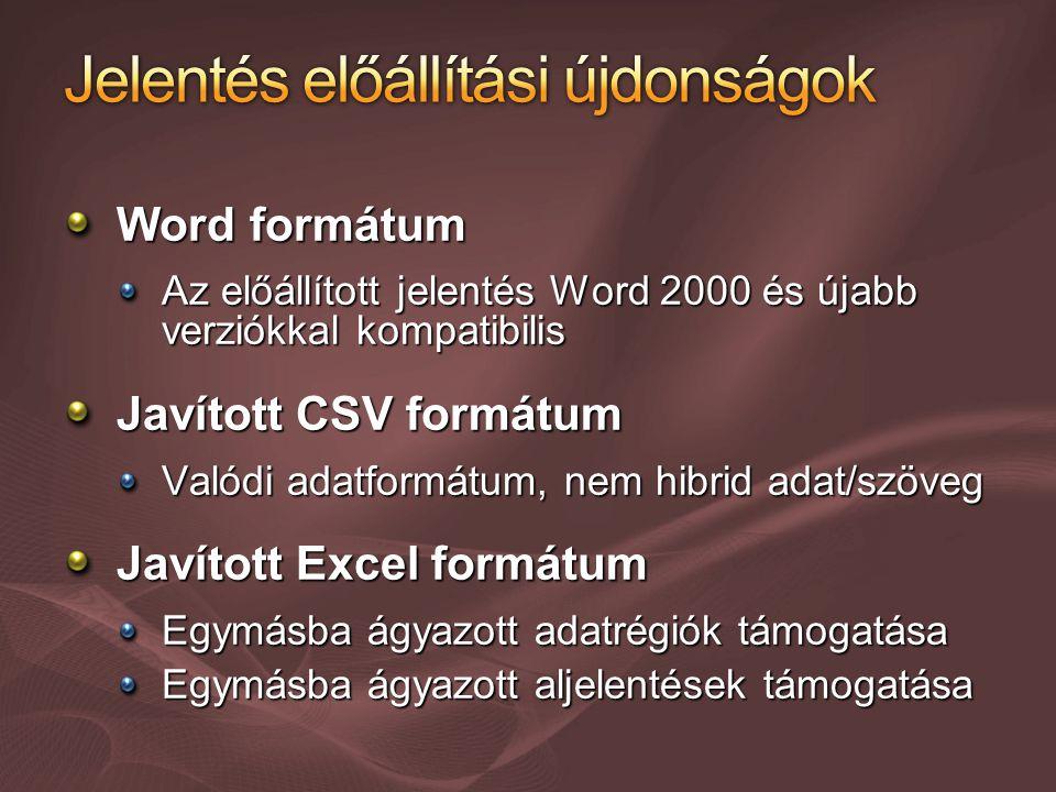 Word formátum Az előállított jelentés Word 2000 és újabb verziókkal kompatibilis Javított CSV formátum Valódi adatformátum, nem hibrid adat/szöveg Javított Excel formátum Egymásba ágyazott adatrégiók támogatása Egymásba ágyazott aljelentések támogatása