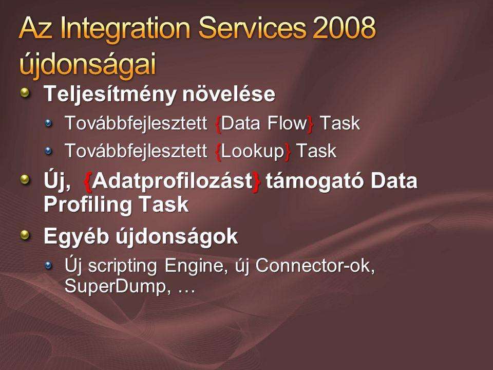 Teljesítmény növelése Továbbfejlesztett {Data Flow} Task Továbbfejlesztett {Lookup} Task Új, {Adatprofilozást} támogató Data Profiling Task Egyéb újdonságok Új scripting Engine, új Connector-ok, SuperDump, …