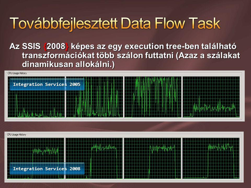 Az SSIS {2008} képes az egy execution tree-ben található transzformációkat több szálon futtatni (Azaz a szálakat dinamikusan allokálni.) Integration Services 2005 Integration Services 2008