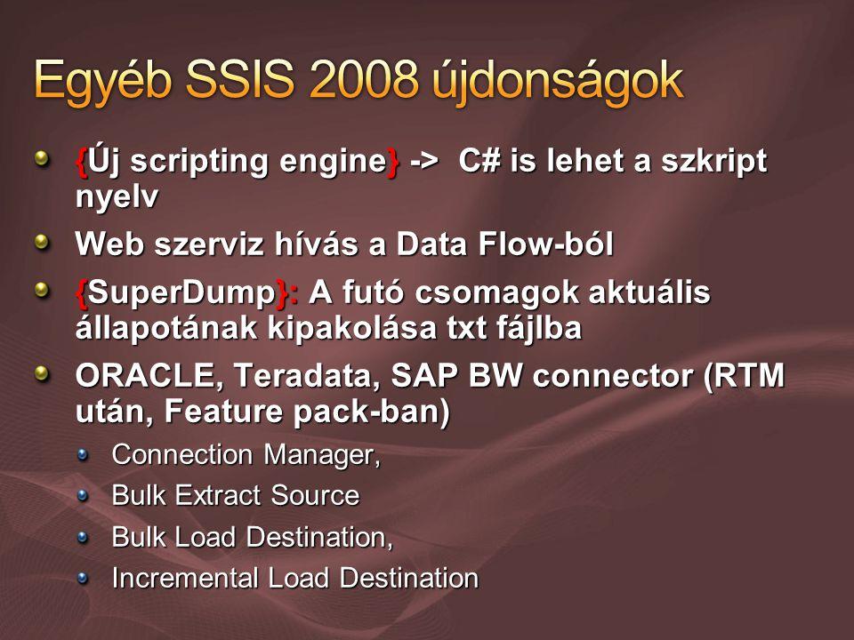 {Új scripting engine} -> C# is lehet a szkript nyelv Web szerviz hívás a Data Flow-ból {SuperDump}: A futó csomagok aktuális állapotának kipakolása txt fájlba ORACLE, Teradata, SAP BW connector (RTM után, Feature pack-ban) Connection Manager, Bulk Extract Source Bulk Load Destination, Incremental Load Destination