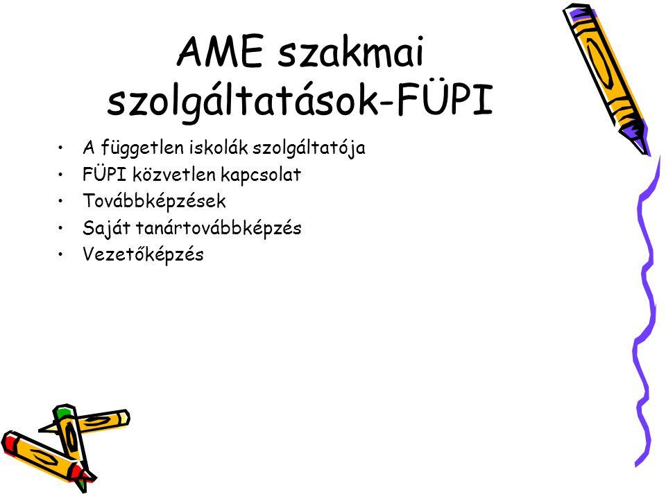 AME szakmai szolgáltatások-FÜPI A független iskolák szolgáltatója FÜPI közvetlen kapcsolat Továbbképzések Saját tanártovábbképzés Vezetőképzés