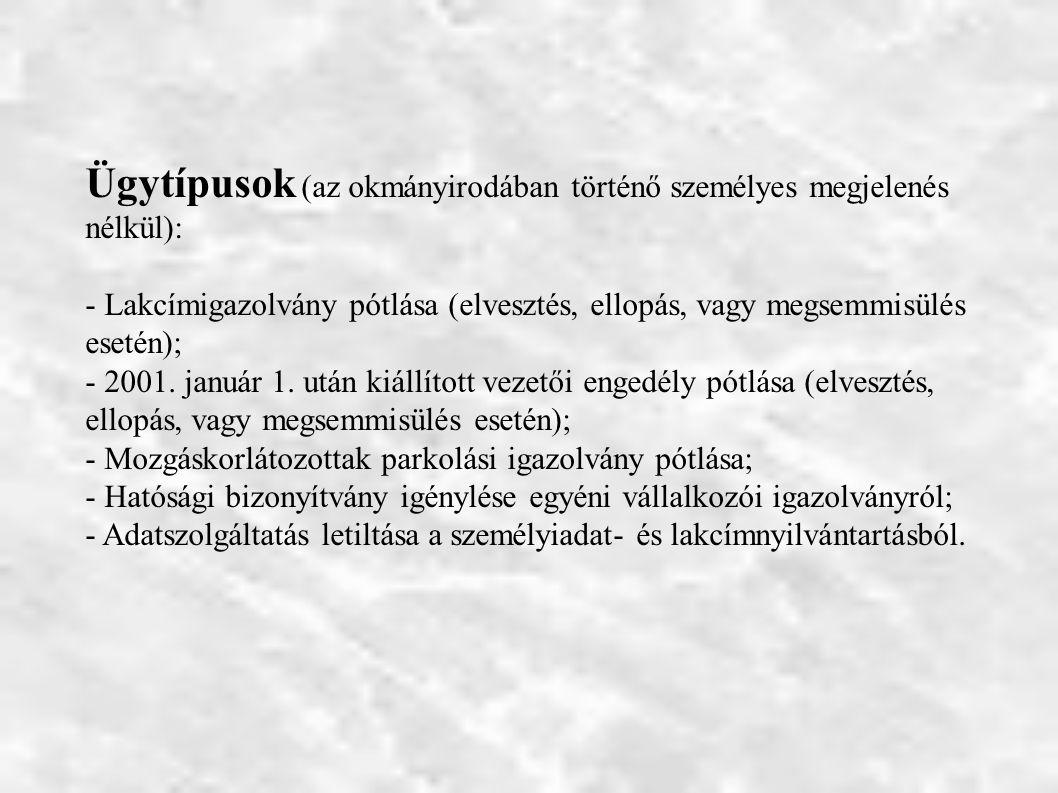 Ügytípusok (az okmányirodában történő személyes megjelenés nélkül): - Lakcímigazolvány pótlása (elvesztés, ellopás, vagy megsemmisülés esetén); - 2001.