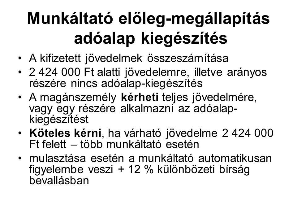 Munkáltató előleg-megállapítás adóalap kiegészítés A kifizetett jövedelmek összeszámítása 2 424 000 Ft alatti jövedelemre, illetve arányos részére nin