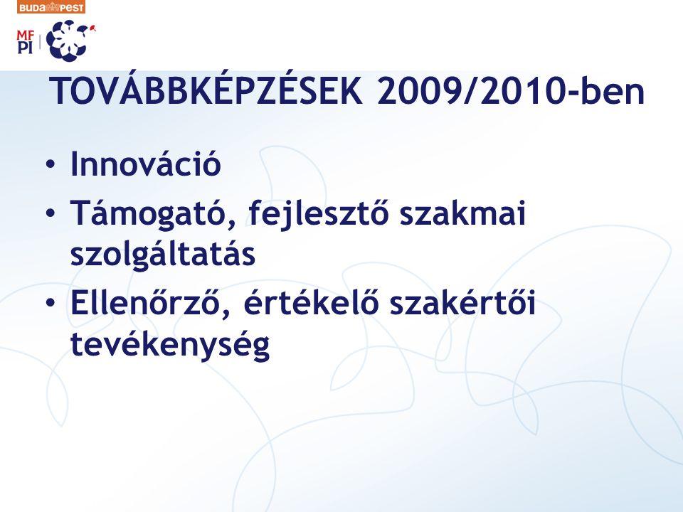 TOVÁBBKÉPZÉSEK 2009/2010-ben Innováció Támogató, fejlesztő szakmai szolgáltatás Ellenőrző, értékelő szakértői tevékenység
