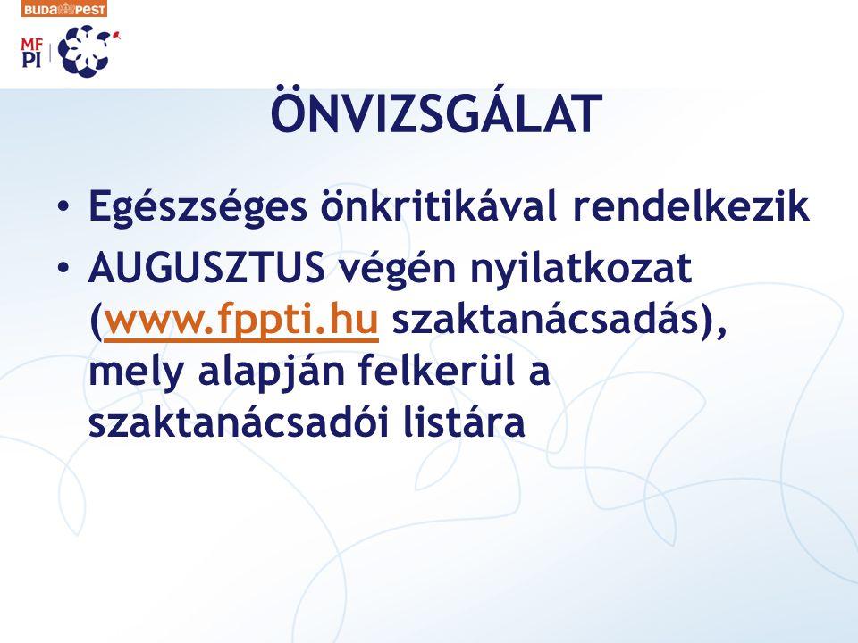 ÖNVIZSGÁLAT Egészséges önkritikával rendelkezik AUGUSZTUS végén nyilatkozat (www.fppti.hu szaktanácsadás), mely alapján felkerül a szaktanácsadói list