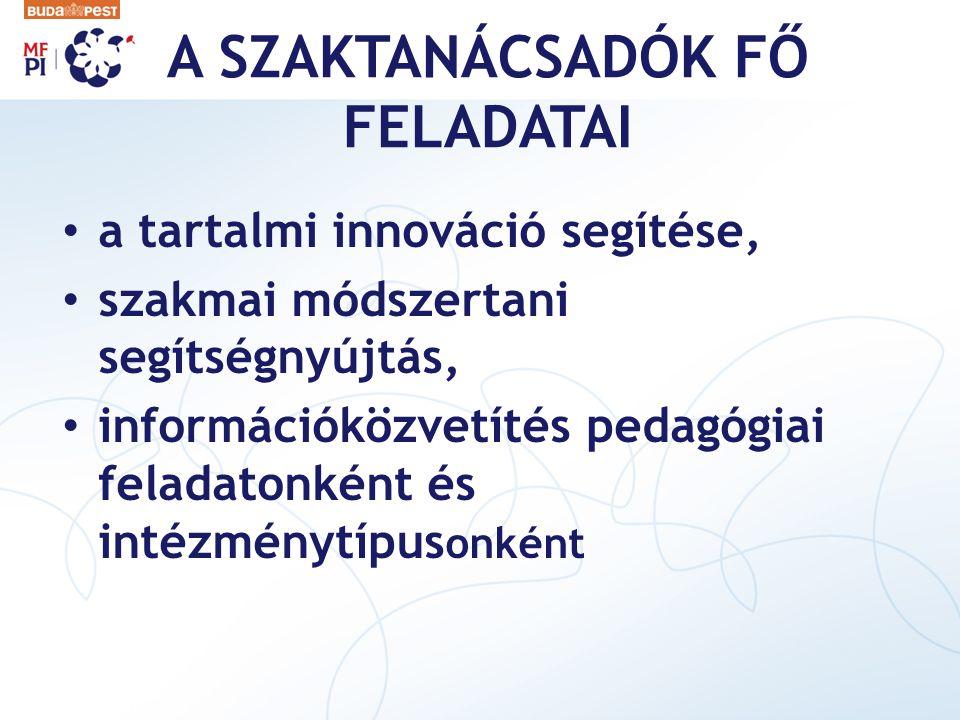 A SZAKTANÁCSADÓK FŐ FELADATAI a tartalmi innováció segítése, szakmai módszertani segítségnyújtás, információközvetítés pedagógiai feladatonként és int