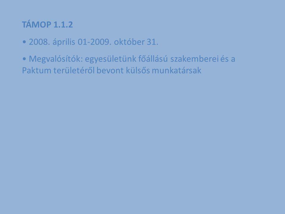 TÁMOP 1.1.2 2008.április 01-2009. október 31.