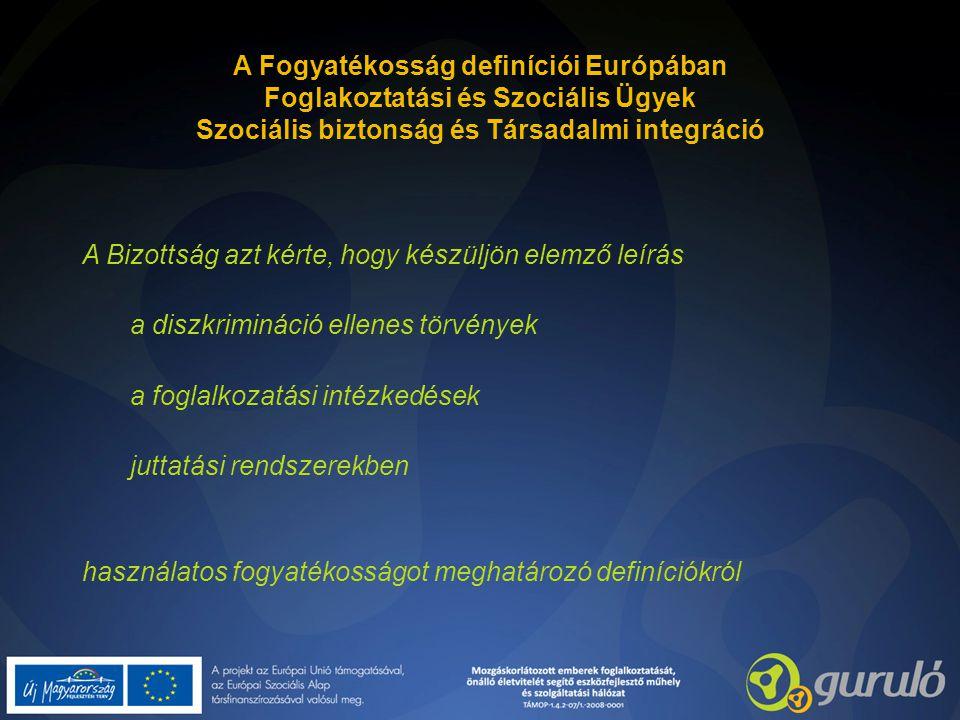 A Fogyatékosság definíciói Európában Foglakoztatási és Szociális Ügyek Szociális biztonság és Társadalmi integráció A Bizottság azt kérte, hogy készül