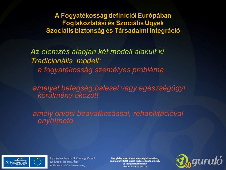 A Fogyatékosság definíciói Európában Foglakoztatási és Szociális Ügyek Szociális biztonság és Társadalmi integráció Az elemzés alapján két modell alak