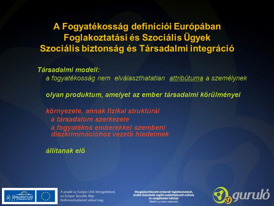 A Fogyatékosság definíciói Európában Foglakoztatási és Szociális Ügyek Szociális biztonság és Társadalmi integráció Társadalmi modell: a fogyatékosság nem elválaszthatatlan attribútuma a személynek olyan produktum, amelyet az ember társadalmi körülményei környezete, annak fizikai struktúrái a társadalom szerkezete a fogyatékos emberekkel szembeni diszkriminációhoz vezető hiedelmek állítanak elő
