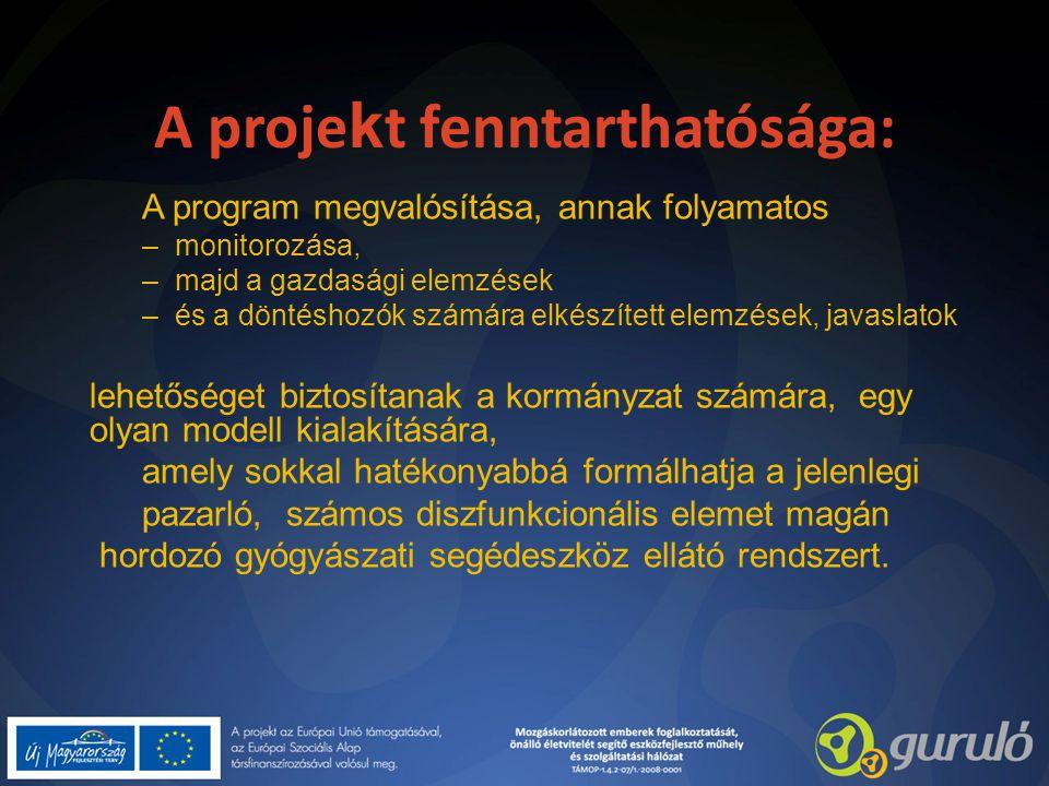 A proje k t fenntarthatósága: A program megvalósítása, annak folyamatos –monitorozása, –majd a gazdasági elemzések –és a döntéshozók számára elkészíte