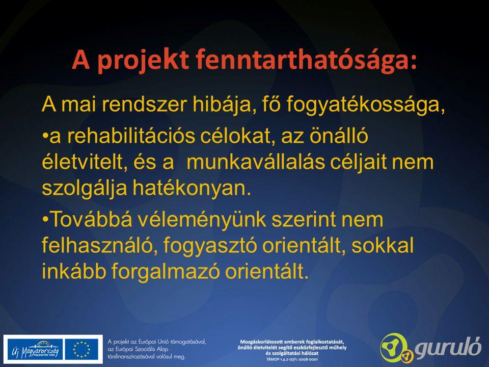 A proje k t fenntarthatósága: A mai rendszer hibája, fő fogyatékossága, a rehabilitációs célokat, az önálló életvitelt, és a munkavállalás céljait nem szolgálja hatékonyan.