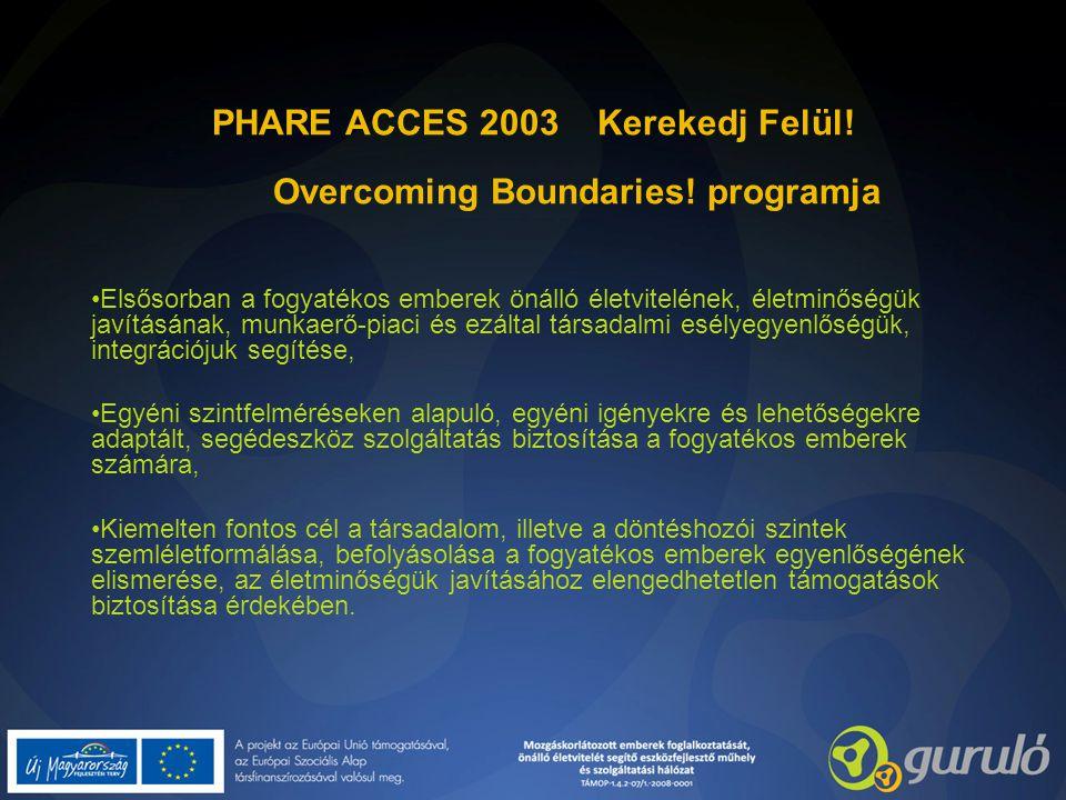 PHARE ACCES 2003 Kerekedj Felül! Overcoming Boundaries! programja Elsősorban a fogyatékos emberek önálló életvitelének, életminőségük javításának, mun