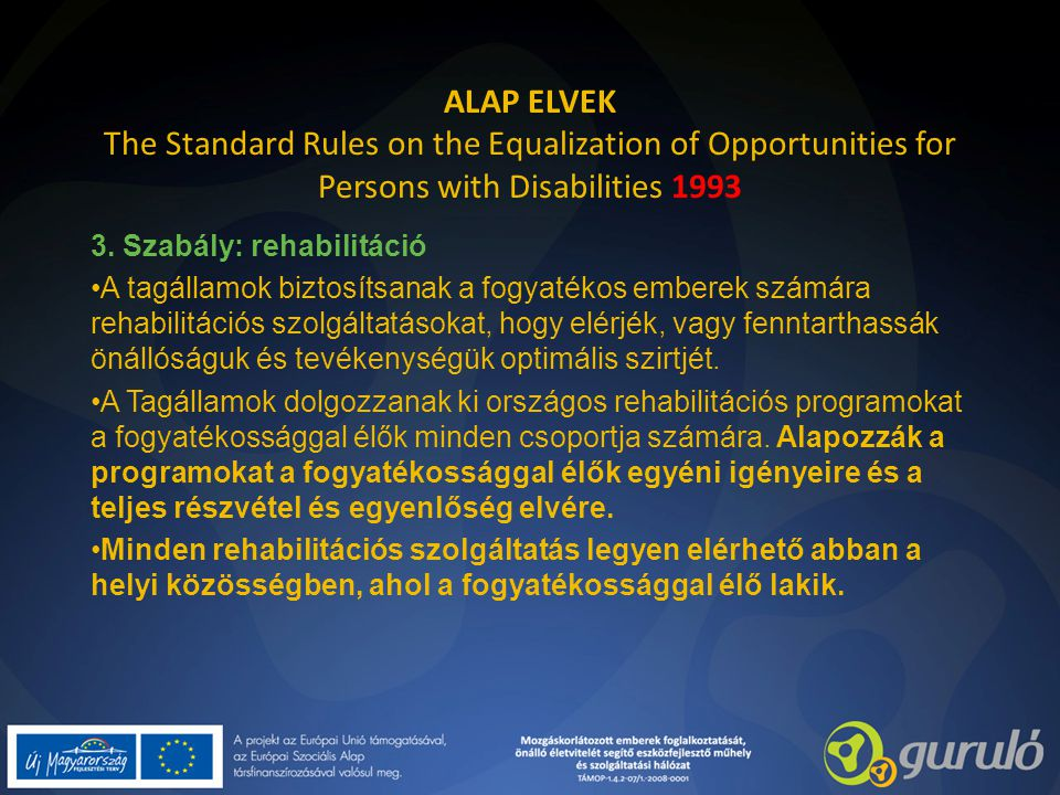 ALAP ELVEK The Standard Rules on the Equalization of Opportunities for Persons with Disabilities 1993 3. Szabály: rehabilitáció A tagállamok biztosíts