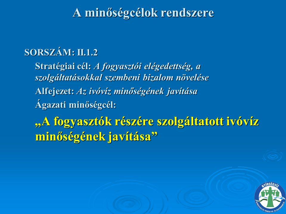 A minőségcélok rendszere SORSZÁM: II.1.2 Stratégiai cél: A fogyasztói elégedettség, a szolgáltatásokkal szembeni bizalom növelése Alfejezet: Az ivóvíz