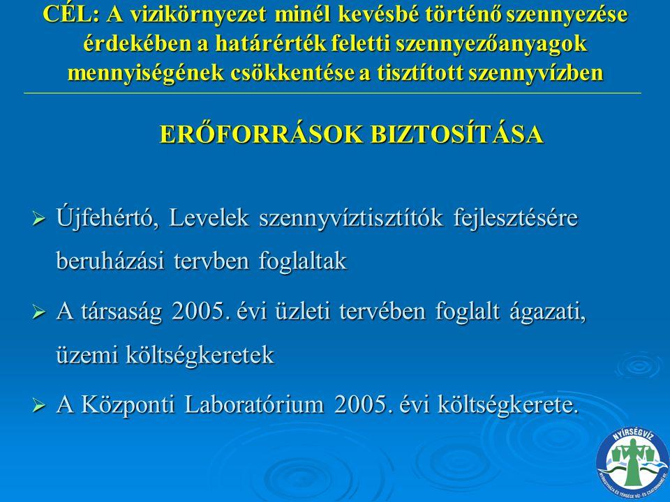 ERŐFORRÁSOK BIZTOSÍTÁSA ERŐFORRÁSOK BIZTOSÍTÁSA  Újfehértó, Levelek szennyvíztisztítók fejlesztésére beruházási tervben foglaltak  A társaság 2005.