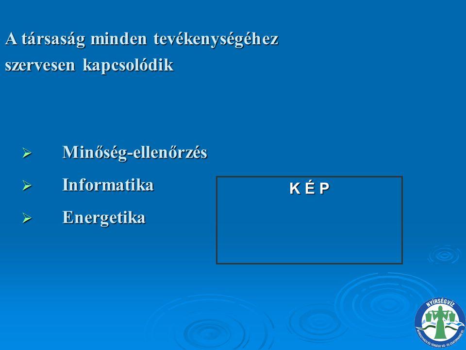  Minőség-ellenőrzés  Informatika  Energetika A társaság minden tevékenységéhez szervesen kapcsolódik K É P