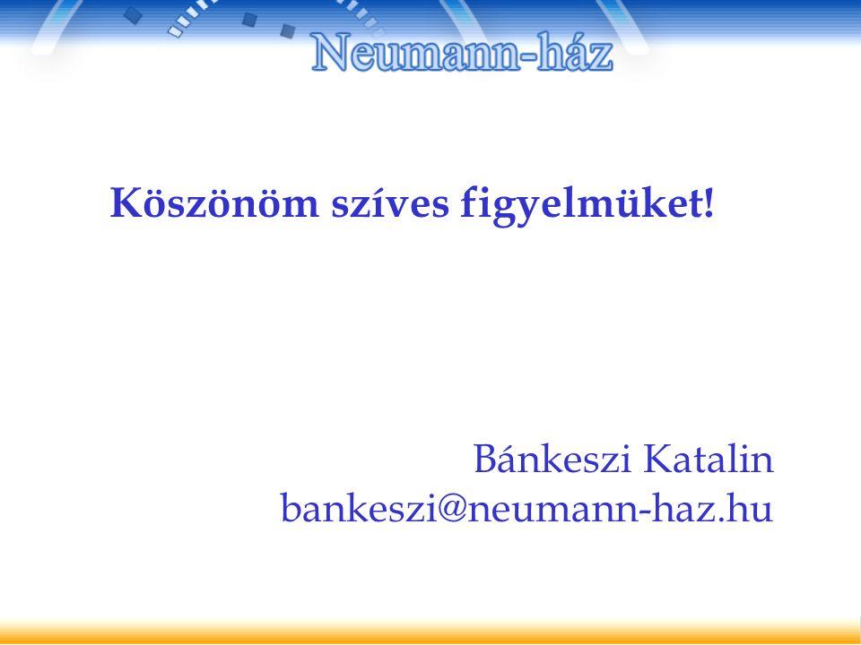 Köszönöm szíves figyelmüket! Bánkeszi Katalin bankeszi@neumann-haz.hu