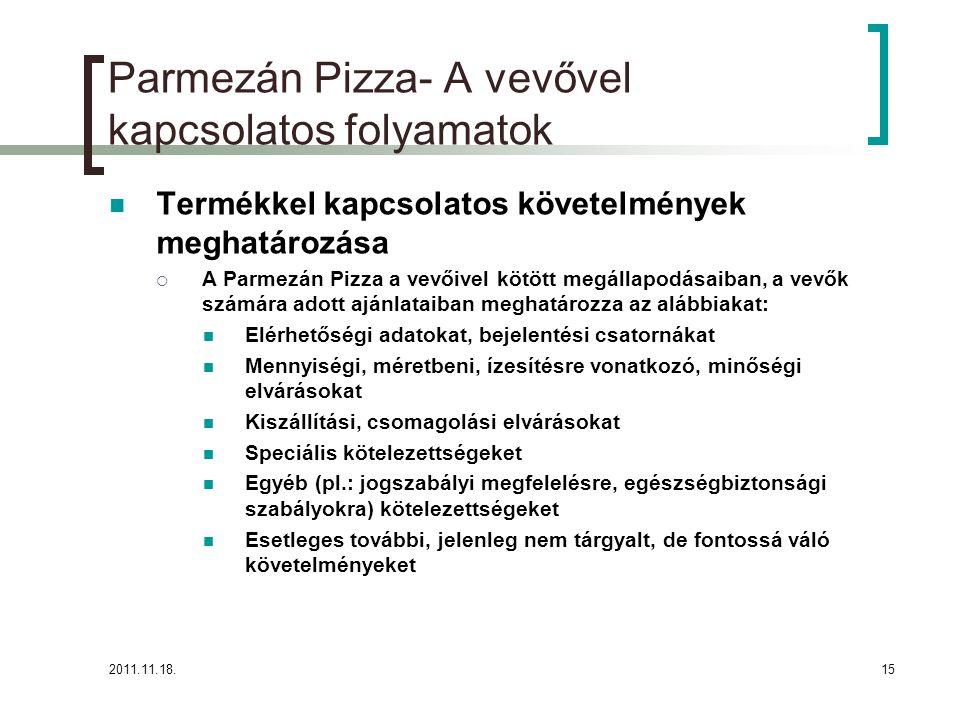 2011.11.18.15 Parmezán Pizza- A vevővel kapcsolatos folyamatok Termékkel kapcsolatos követelmények meghatározása  A Parmezán Pizza a vevőivel kötött megállapodásaiban, a vevők számára adott ajánlataiban meghatározza az alábbiakat: Elérhetőségi adatokat, bejelentési csatornákat Mennyiségi, méretbeni, ízesítésre vonatkozó, minőségi elvárásokat Kiszállítási, csomagolási elvárásokat Speciális kötelezettségeket Egyéb (pl.: jogszabályi megfelelésre, egészségbiztonsági szabályokra) kötelezettségeket Esetleges további, jelenleg nem tárgyalt, de fontossá váló követelményeket