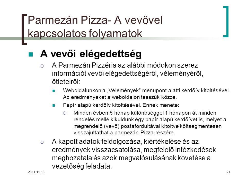 """2011.11.18.21 Parmezán Pizza- A vevővel kapcsolatos folyamatok A vevői elégedettség  A Parmezán Pizzéria az alábbi módokon szerez információt vevői elégedettségéről, véleményéről, ötleteiről: Weboldalunkon a """"Vélemények menüpont alatti kérdőív kitöltésével."""