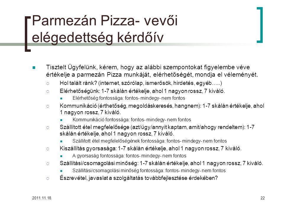 2011.11.18.22 Parmezán Pizza- vevői elégedettség kérdőív Tisztelt Ügyfelünk, kérem, hogy az alábbi szempontokat figyelembe véve értékelje a parmezán Pizza munkáját, elérhetőségét, mondja el véleményét.