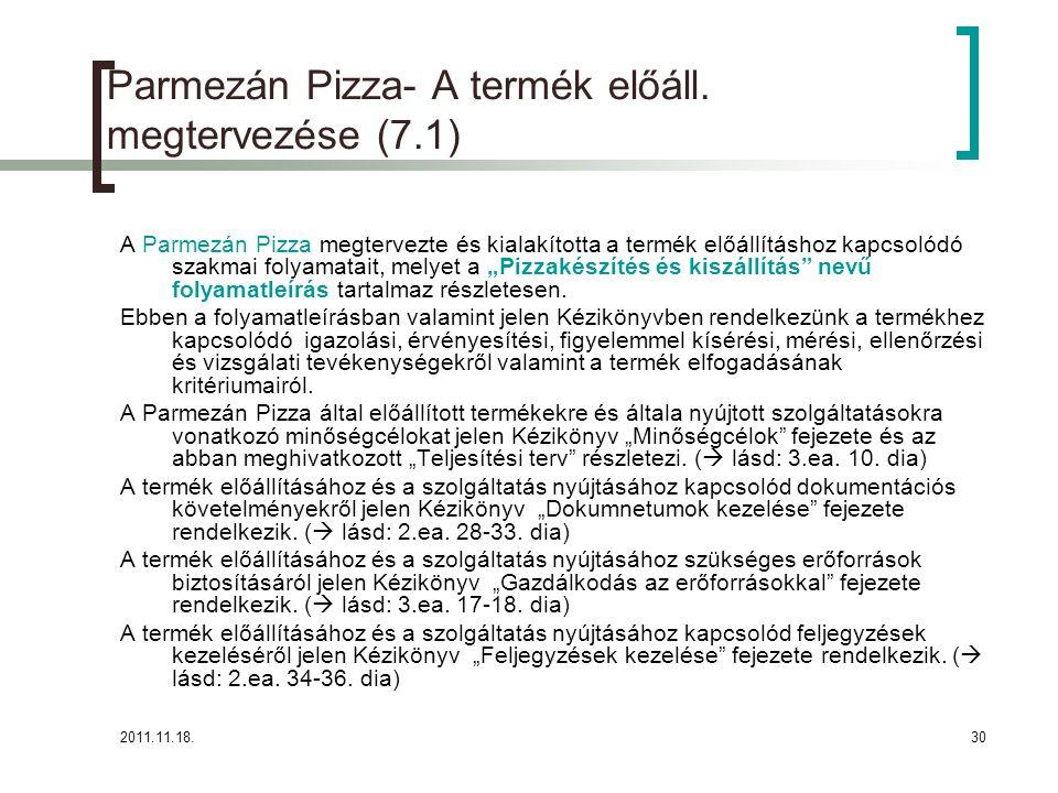 2011.11.18.30 Parmezán Pizza- A termék előáll.