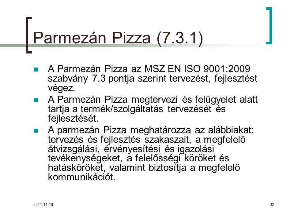 2011.11.18.32 Parmezán Pizza (7.3.1) A Parmezán Pizza az MSZ EN ISO 9001:2009 szabvány 7.3 pontja szerint tervezést, fejlesztést végez.