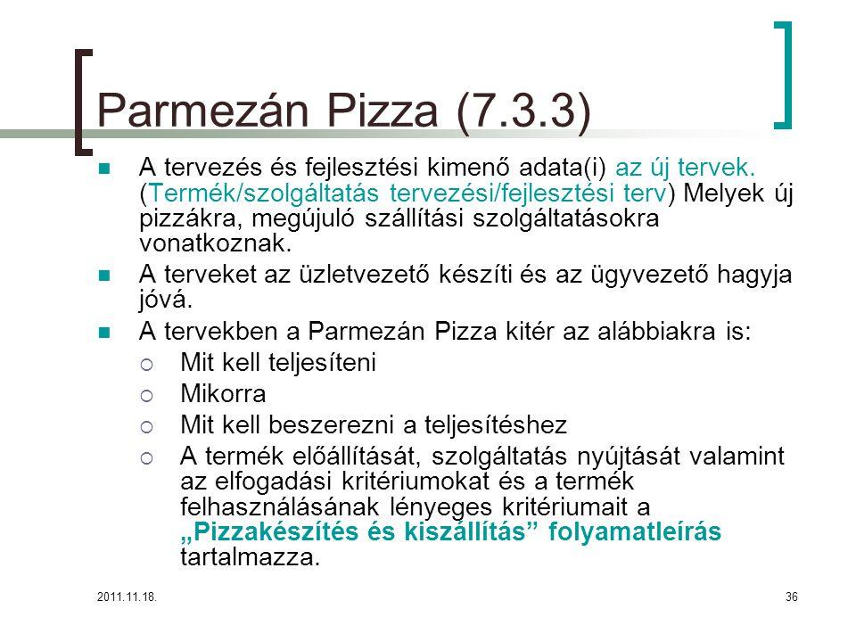 2011.11.18.36 Parmezán Pizza (7.3.3) A tervezés és fejlesztési kimenő adata(i) az új tervek.