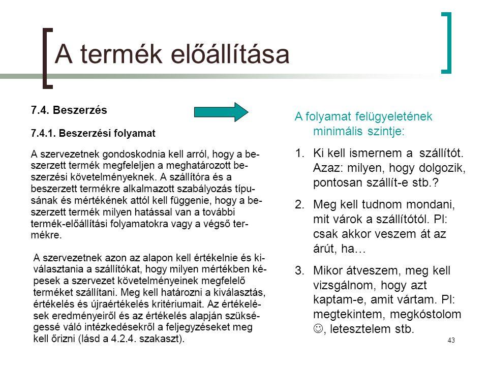 2011.11.18.43 A termék előállítása A folyamat felügyeletének minimális szintje: 1.Ki kell ismernem a szállítót.