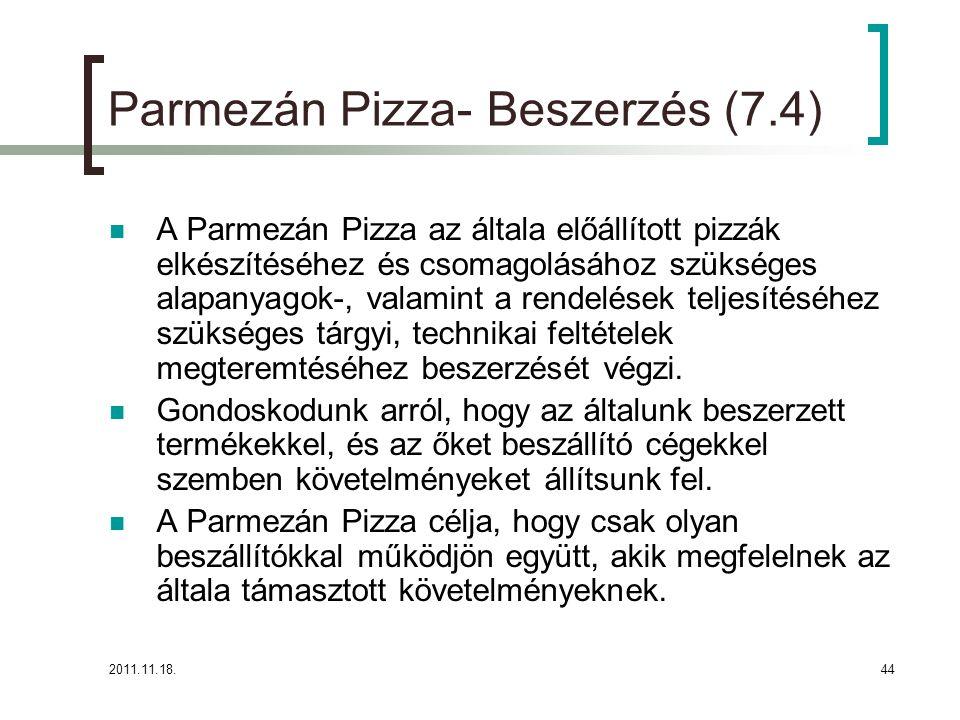 2011.11.18.44 Parmezán Pizza- Beszerzés (7.4) A Parmezán Pizza az általa előállított pizzák elkészítéséhez és csomagolásához szükséges alapanyagok-, valamint a rendelések teljesítéséhez szükséges tárgyi, technikai feltételek megteremtéséhez beszerzését végzi.